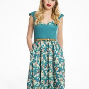 'Rosemary' Teal Bird Print Swing Dress